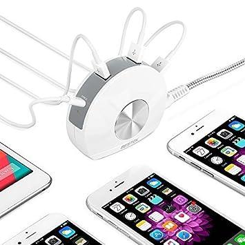 BESTEK Cargador USB Cargador Escritorio con 4 Puertos 5V/6A Incluye Un Puerto Tipo-C para Viajar Cargador de Pared para iPhone y Movil Color Blanco