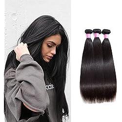 Original Queen 8A Grade Brazilian Straight 3 bundles Deal Silky Straight Virgin Human Hair Weave Extension Mixed Lengths Natural Color 18 20 22 Inches