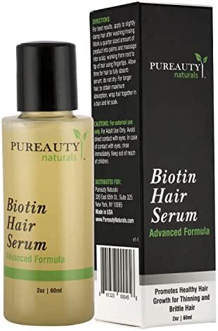 Pureauty Naturals Biotin Hair Growth Serum - Advanced Topical Formula To Help Grow Healthy, Strong Hair - Suitable for Men and Women of All Hair Types - Hair Loss Support - 2 Ounces