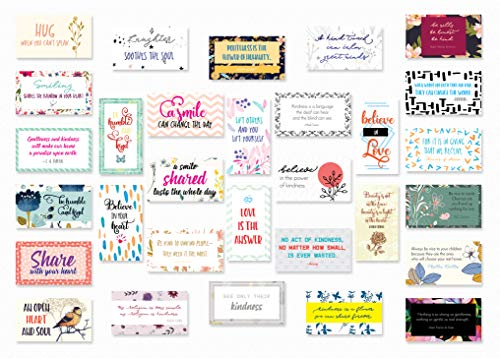 (30 Beautiful Motivational Quote Note Cards About Kindness, Love, Sharing. Business Card Size with Gloss Stock, Back of Card is White for Message, Inspirational Christmas, Holidays, School, Lunchbox)