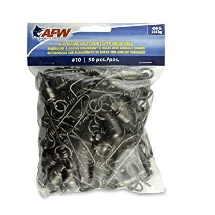 Image of American Fishing Wire Black Ball Bearing Snap Swivels (50 Piece), Size 10, 450 Pound Test Swivels & Snaps