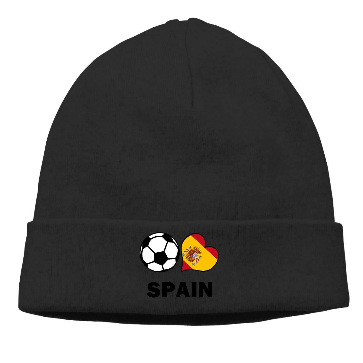 E6EP9E Soccer Heart Football Spain Flag Warm Skiing Skull Cap Men Women Biking Thin Beanie