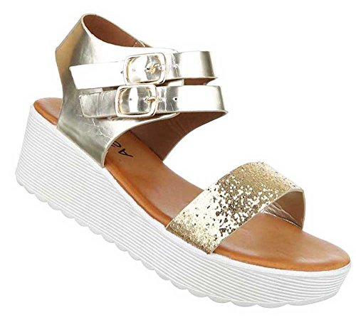 Damen Sandalen Schuhe Sandaletten Schwarz Gold