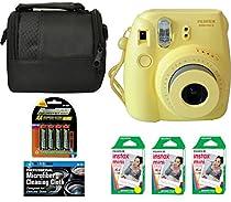 Fujifilm Instax Mini 8 Instant Film Camera (Yellow) + 6 Pack Fuji Instax Mini Film (60 Prints) + 4 AA Rechargeable Batteries + Bag + Microfiber Cleaning Cloth
