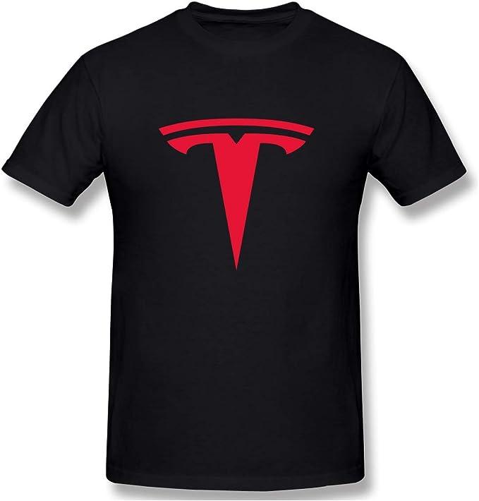 LLZQJ-DAA T-Shirt da Uomo con Stemma Tesla Motors: Amazon.it