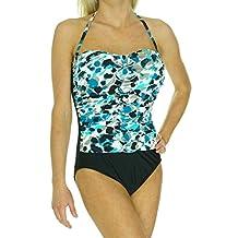 INC International Concepts Women's Printed Rosette Bandeau One Piece Swimsuit