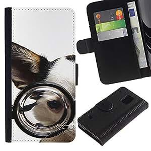 Billetera de Cuero Caso Titular de la tarjeta Carcasa Funda para Samsung Galaxy S5 V SM-G900 / Glasses Chihuahua Dog Pet Canine White / STRONG
