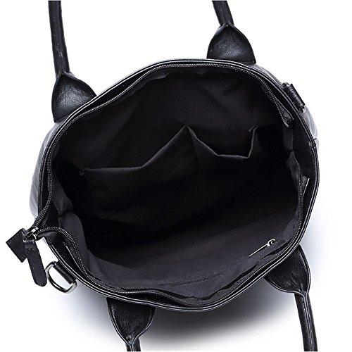 negro y la para de PU negocio hombres Tote del del hombro BLOOMSTAR cuero mujeres de la Bag Bolso cuerpo de bandolera del bolso portátil del manera Negro ordenador de 4003 Cruz la 6qxECw54p