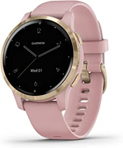Garmin vívoactive 4S, Smaller-Sized GPS Smartwatch, Features Music, Body Energy Monitoring, Animated Workouts, Pulse Ox Sensors and More, Light Gold with Light Pink Band
