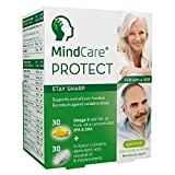 MindCare PROTECT Stay Sharp, Brain & Memory Support Supplement - 660mg Omega-3 EPA & DHA Wild Fish Oil, N-Acetyl L-Cysteine, Resveratrol & Multivitamins, age  45+, 60 capsules