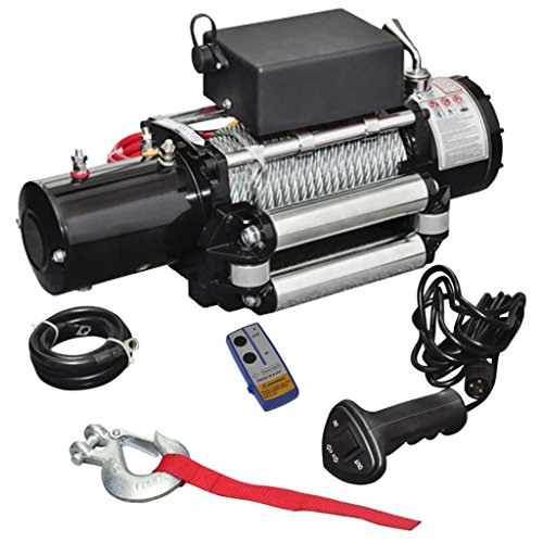 vidaXL 13000lb Electric Recovery Winch 12V ATV Car Truck Trailer Tow Roller Fairlead (Tow Roller)