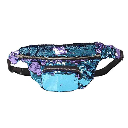 Sinwo Unisex Fashion Outdoor Sports Casual Double Color Sequins Unisex Waist Pack (Sky Blue)