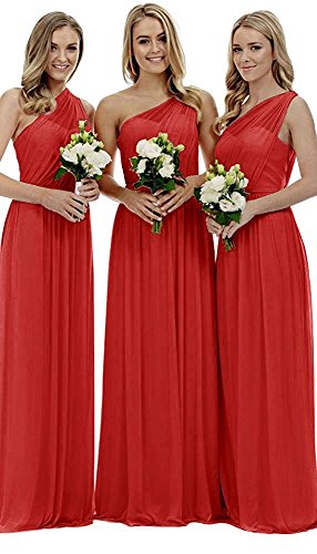 Dress Long Party Wedding Dresses Royal Brdiesmaid One Shoulder Women's Blue Fanciest Red qwnvtSBS