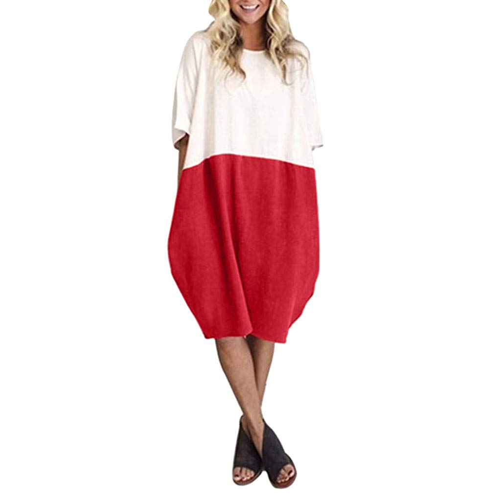 Libermall Women's Dresses Loose Linen Patchwork Half Sleeve with Pocket Casual Dress Beach Sundress Red