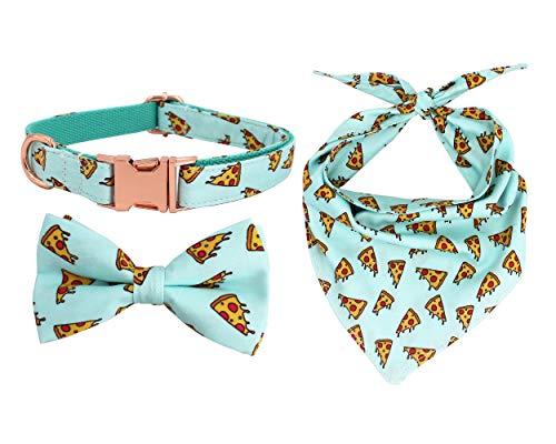 Free Sunday Pizza Dog Bow Collar and Bandana, Set for Pet(Pizza S)