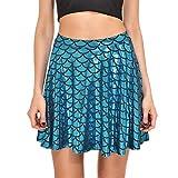 Women's Mermaid Fish Scale Print Skater Flared Mini Skirt Light Blue S