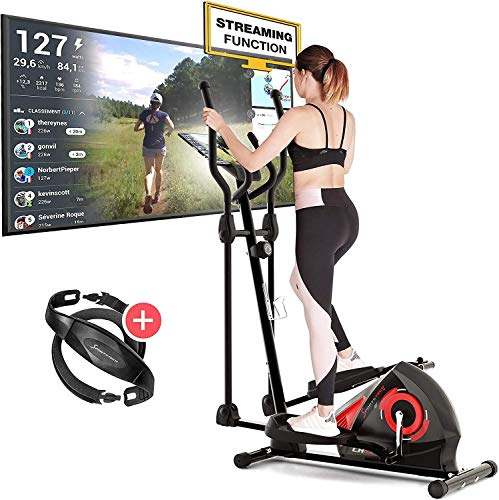 Sportstech CX608 Crosstrainer met Kinomap-app en bluetooth-console, gratis polsband inbegrepen, compatibele…