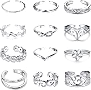 Jstyle 12Pcs Adjustable Toe Rings for Women Girls Various Types Band Open Toe Ring Set Women Summer Jewelry
