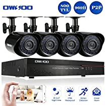 OWSOO 4CH Full 960H/D1 CCTV DVR Security Kit HDMI P2P Cloud Network Digital Video Recorder + 4x 800TVL Outdoor/Indoor Infrared Camera, Support IR-CUT Night Vision Weatherproof Plug and Play
