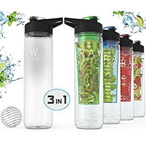 Premium Quality Raw Fountain Fruit Infused Water Bottle + Protein Shaker Bottle - 27oz. Sport Bottle - BPA Free - 2 in 1 Interchangeable Function For Your Needs! (Green)