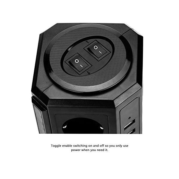 Lidlife Torretta multipresa a 8 prese, con protezione da sovratensione e da fulmini, presa multipla a torre con 4 porte USB e cavo di prolunga da 2 m, Nero 5 spesavip