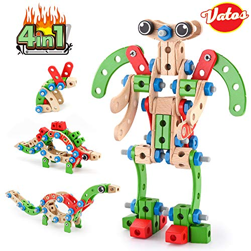 VATOS Wooden Construction Building Set, 96 PCS STEM Learning Toys, 4 in 1 Fun Kids Educational Developmental Nuts & Bolt Assembly Playset for 3 4 5 6 7 8 9 10 Years Old Boys and Girls Best Toy Gifts (Building Olds 10 Year For Toys)