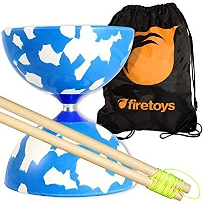 Jester Medium Diabolo (Blu/Wht) with Firetoys Wooden Diablo Sticks (incl string) & FT Bag by Juggle Dream: Toys & Games