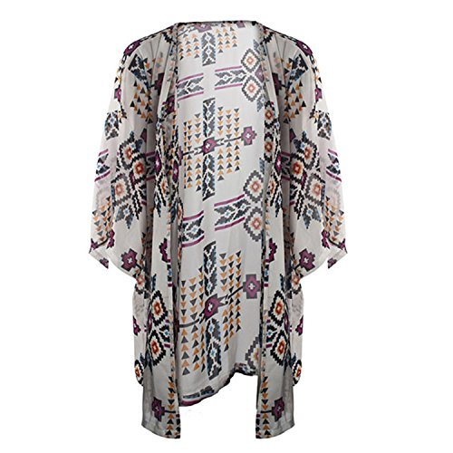 Women Cardigan Summer Chiffon Geometric Printing V-Neck Three Quarter Sleeves Female Tops Sunblock Sun Protection Shawl Blouse ()