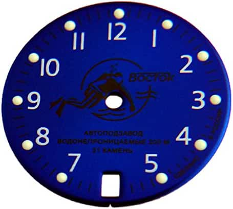 Watch Parts: Dial Scuba Dude Diver Blue to Vostok Amphibian or Komandirskie Auto Watch Dial 379