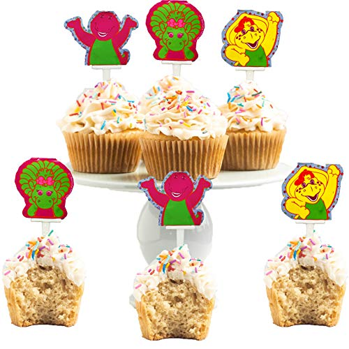 Barney Party Supplies Cupcake Toppers with Baby Bop and BJ (Barney Birthday Invitations)