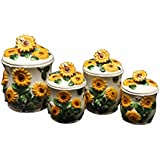3-D Sunflower 4-piece Canisters Set, 83001