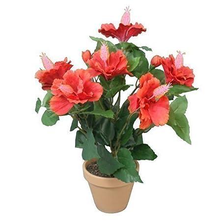 Decorative Artificial Hibiscus Flower 40 Cm Fabric Full Red