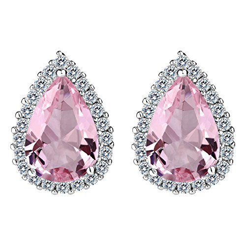 EVER FAITH Women's Cubic Zirconia Wedding Teardrop Prong Setting Stud Earrings Pale Pink ()