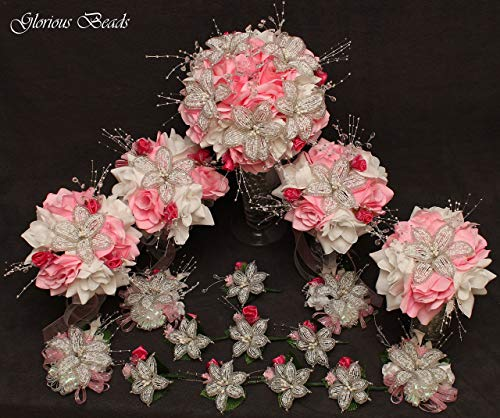 (Pink Beaded Lily Wedding Flower 17 piece set with Pink and White Roses ~ Unique French beaded flowers and beaded sprays. Includes Bouquets Corsages and Boutonnieres)
