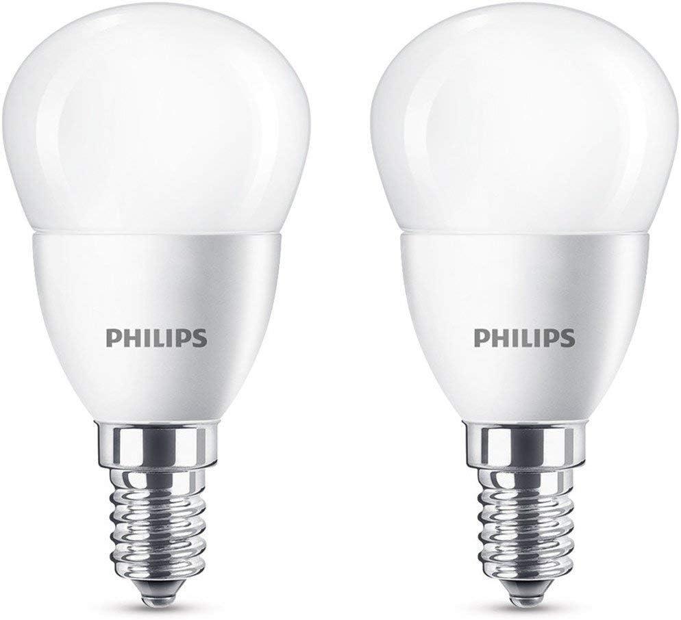 Philips Bombillas LED E14, 5.5 W equivalentes a 40 W en incandescencia, 470 lúmenes, luz blanca cálida, Pack de 2