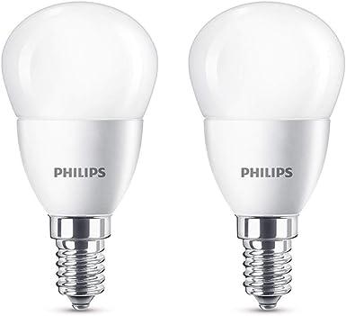 Image ofPhilips Bombillas LED E14, 5.5 W equivalentes a 40 W en incandescencia, 470 lúmenes, luz blanca cálida, Pack de 2           [Clase de eficiencia energética A+]