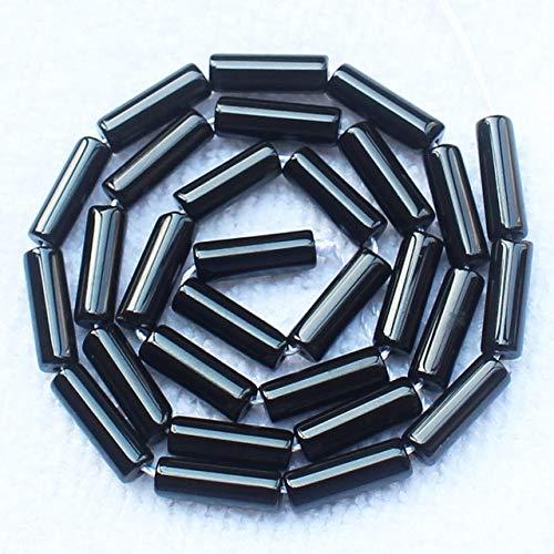 Round Bead 4x13mm Tube (Pukido Black Onyx Tube Loose Beads 15