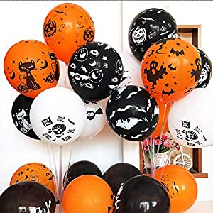 50 Pieces Halloween Latex Balloons - 12 Inch Pumpkin Bat Ghost Skull Specter Spider Web Balloons for Halloween Party Decorations, Trick or Treat Toys, School Classroom Game, Kids Giveaway