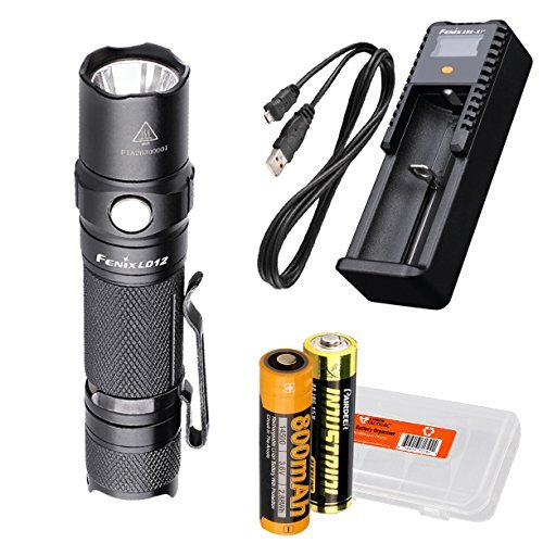 Fenix LD12 320 Lumens Rechargeable LED Flashlight with Fenix ARE-X1+ Charger, Battery and LumenTac Battery Organizer
