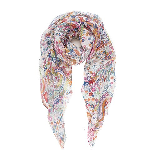 - Scarf for Women Lightweight Paisley Fashion Spring Fall Scarves Shawl Wraps (P082-1)