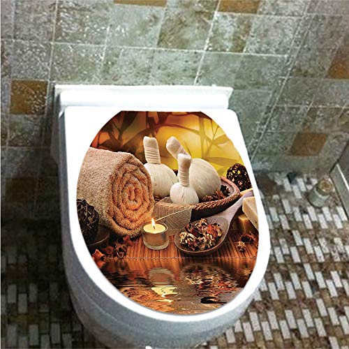 Toilet Cover Decoration,Spa Decor,Outdoor Spa Massage Setting at Sunset with Candlelight Reflections Culture,3D Printing,W12.6''xH14.9'' by iPrint (Image #2)