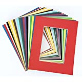 Pack of 20 MIXED COLORS 11x14 Picture Mats Matting with White Core Bevel Cut for 8x10 Pictures