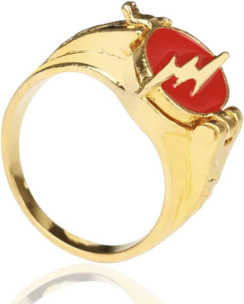 The Flash Lightening Bolt Logo Red Ring Fastest Man Alive Cosplay Accessory