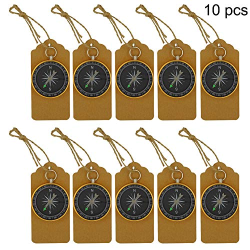 Develoo Compass Wedding Favors, 10 Pack Compass Pendant Kraft Tags Wedding Favors Hanging Ornament Guests Souvenir Gift for Birthday Wedding Party Hiking Camping