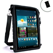 USA GEAR Travel Tablet Case w/ Touch Capacitive Screen Cover , Adjustable Shoulder / Headrest Strap & Protective Neoprene – Works with Kocaso W1010 , Dragon Touch X10 , Visual Land Connect 9 & More!