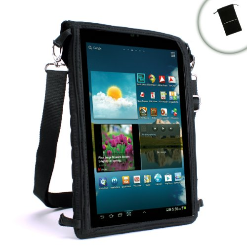 USA Gear Travel Tablet Case w/Touch Capacitive Screen Cover, Adjustable Shoulder/Headrest Strap & Protective Neoprene â€