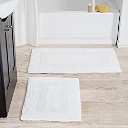 Lavish Home Cotton Bath Mat Set- 2 Piece 100 Percent Cotton Mats- Reversible, Soft, Absorbent and Machine Washable Bathroom Rugs By (White)