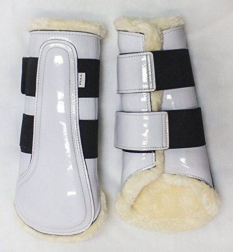 Sport White Patent Leather (Delfina Limited Edition WHITE Patent Leather Brushing Splint Dressage Sport Boots Horse/Full Size)