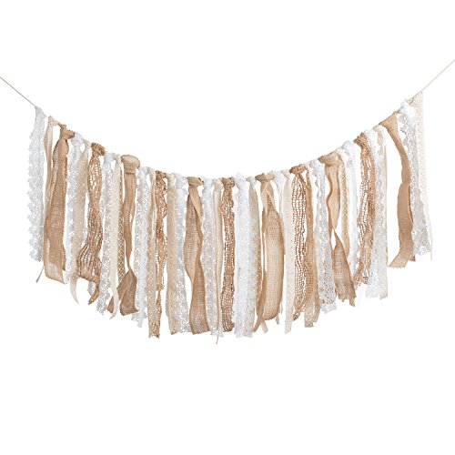 Ling's moment Yarn Tassel Garlands Rag Garland Cream White Buffalo Plaids Check Garland, Boho Decor Rustic Wedding Event & Party Supplies Shabby Chic Banner 3~11 FT
