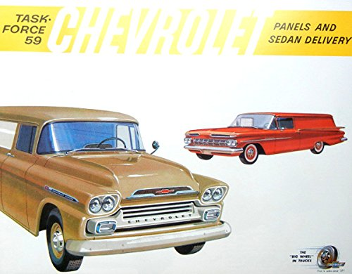 HISTORIC 1959 CHEVROLET SUBURBAN, CARRYALL & PANEL TRUCK BEAUTIFUL DEALERSHIP SALES BROCHURE INCLUDES Model 3105_3106_3805_Series 11 & 12, 31 & Series 38, V8 and 6 Cylinder Engines - CHEVY ADVERTISEMENT LITERATURE 59